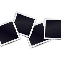 Composition of realistic black photo frames on light background. Mockups for design. Vector illustration.