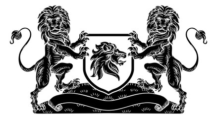 A medieval heraldic coat of arms emblem featuring lion supporters flanking a shield charge in a vintage retro woodcut style.