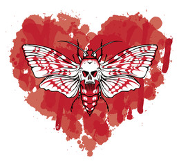 Vector graphic illustration of a butterfly Dead head with a skull-shaped pattern on the thorax. White moth on abstract red heart. T-shirt design template