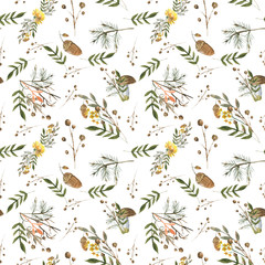 autumn pattern/Watercolor hand drawn pattern with autumn elements contours: foliage, berries and acorns for your design.