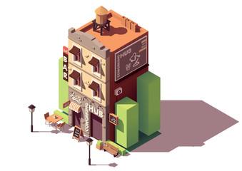 Vector isometric coworking building