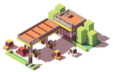 Vector isometric gas station