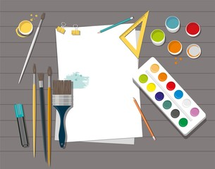 Art product isolated on wooden background. Back to school. Hobby.