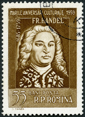 ROMANIA - 1959: shows George Frideric Handel (1685-1759), series Portraits