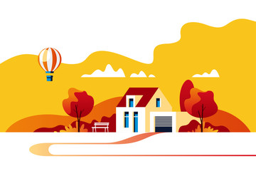 Autumn landscape. Suburban traditional  house. Family home. Vector illustration.