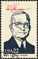 USA - 1986: shows Portrait of Harry S Truman (1884-1972), 33th president of the United States, series Presidents of USA