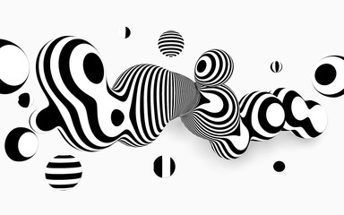 Abstract vector black and white background . Metaball  design, with organic looking 3d effect.