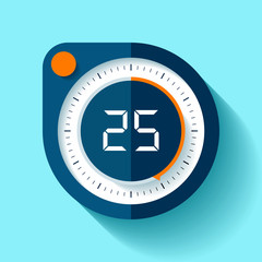 Stopwatch icon in flat style, round timer on color background. Sport clock. Vector design element for you business project