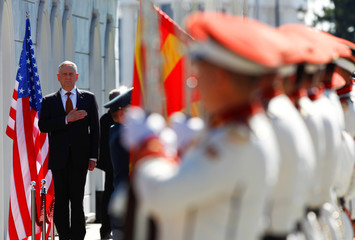 Macedonian PM Zaev and U.S. Secretary of Defense Mattis attend a welcoming ceremony in Skopje