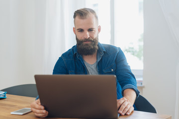 Bearded casual man working on a laptop at home