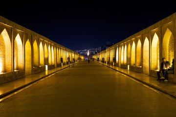 Night view of the ancient bridge of Isfahan, Iran