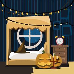 bedroom in halloween day vector illustration