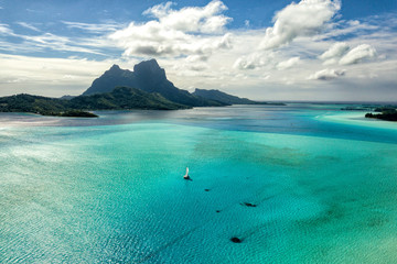 Bora Bora island french polynesia lagoon aerial view