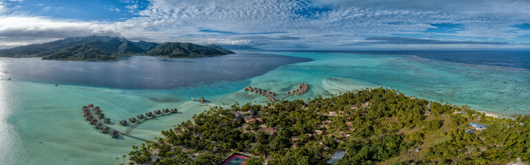 Taha island french polynesia lagoon aerial view