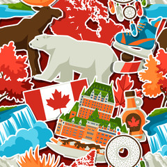 Canada sticker seamless pattern.