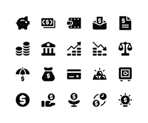 Simple Set of Financial Related Vector Glyph Icons. Contains such Icons aspiggy, money, wallet, bill, coins and More. pixel perfect vector icons based on 32px grid. Well Organized and Layered.