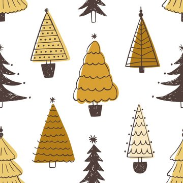 Festive seamless pattern with various Christmas trees, firs or spruces on white background