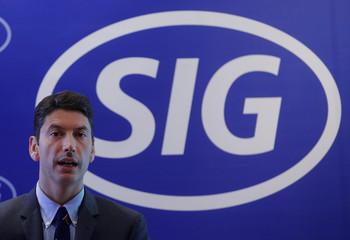 CFO Samuel Sigrist of Swiss packaging maker SIG Combibloc addresses a news conference in Zurich