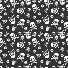 Skull and crossbones vector seamless pattern for holiday Halloween. Background for wallpaper, wrapping, packing, and backdrop.