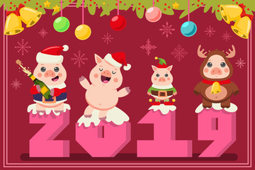Christmas 2019 greeting card with funny pigs in Santa Claus, elf and reindeer costumes. Vector cartoon illustration with cute animals symbols of the 2019 Chinese New Year.