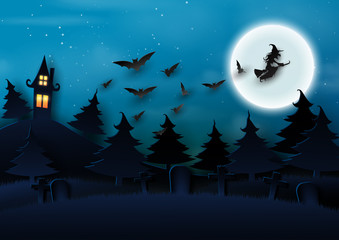 Paper art of halloween night background.Dark castle and full moon with the witch and bats.Vector illustration.