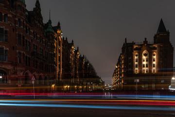 Speicherstadt Hamburg bei Nacht - Langzeitbelichtung