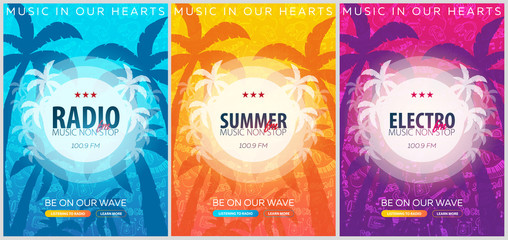 Set of Beautiful flyers for summer party. Radio Music. Vector illustration. Invitation to nightclub.