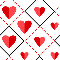 Geometric seamless pattern with squares and red hearts on white background. Vector illustration