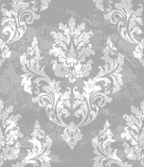 Damask ornament Vector background. Stylish royal decor. trendy gray color textures