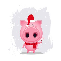 Vector funny cartoon pig. Cute animal illustration. Cartoon character. Christmas illustration
