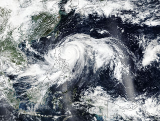 Typhoon Mangkhut in Philippines. Elements of this image furnished by NASA