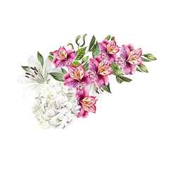 Beautiful watercolor wedding  bouquet with leaves and flowers of lily, alstroemeria and hudrangea.