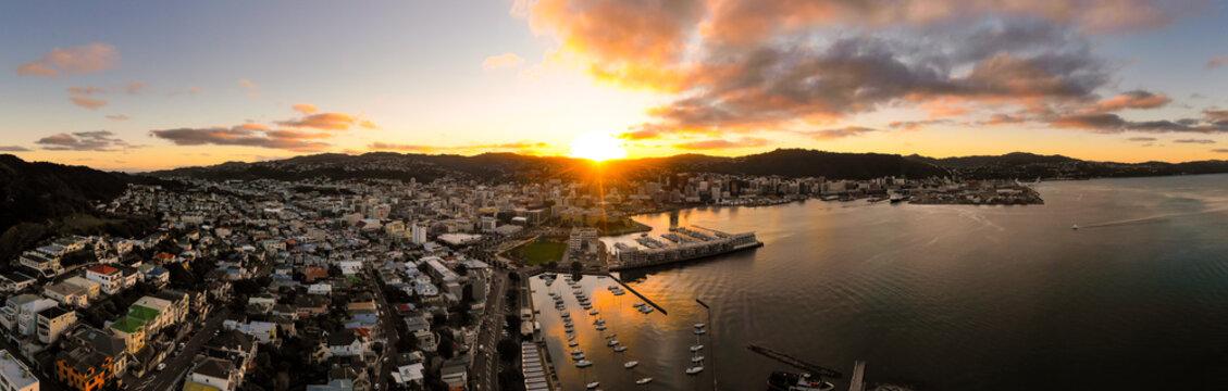 Aerial Panorama, Sunset Over Wellington, New Zealand