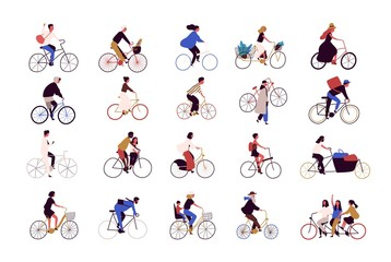 Wall Mural - Group of tiny people riding bikes on city street during festival, race or parade. Collection of men and women on bicycles isolated on white background. Colored vector illustration in cartoon style.
