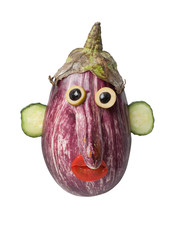 Funny eggplant face made on isolated background