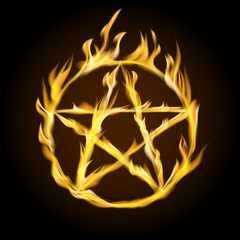 A fiery pentagram.A fiery pentagram. Occult sign. Vector illustration.