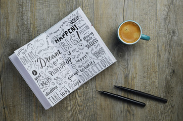 DREAM BIG sketch notes hand-lettered in notebook on wooden desk with cup of coffee and pens