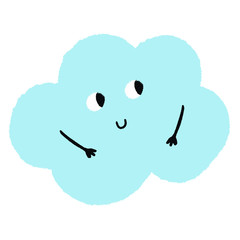Smiling vector cloud with hand drawn texture
