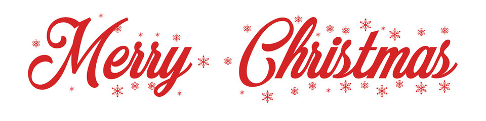 Merry Christmas red hand lettering inscription to winter holiday design