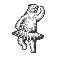 Dancing circus bear animal engraving vector illustration. Scratch board style imitation. Black and white hand drawn image.