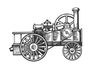 Steam engine tractor engraving vector illustration. Scratch board style imitation. Black and white hand drawn image.