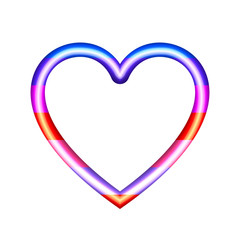 Vector Heart Icon, 3D Colorful Illustration Isolated on White Background.