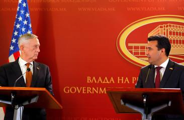 Macedonian PM Zaev and U.S. Secretary of Defense Mattis attend a news conference in Skopje