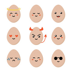 Cute cartoon brown chicken egg character with different facial expressions, emotions. Set, collection of emoji isolated on white background.
