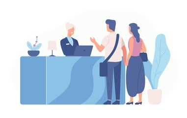 Obraz Pair of tourists or travellers standing at reception desk and talking to receptionist. Scene with guests at hotel lobby isolated on white background. Colored vector illustration in flat cartoon style. - fototapety do salonu
