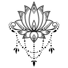 Mehndi lotus flower pattern for Henna drawing and tattoo. Decoration in ethnic oriental, Indian style.