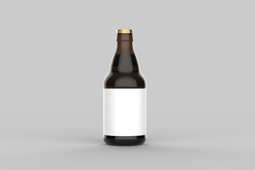 Beer bottle mock up isolated on soft gray background. 3D illustration.