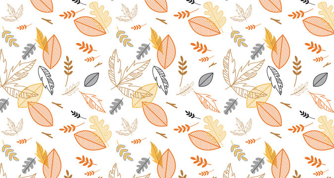 Pattern banner with hand drawn elegant autumn leaves. Design for wallpaper, gift paper, pattern fills, web page background, autumn greeting cards