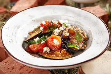 Vegetarian Eggplant Salad with Baked Aubergine, Cherry Tomatoes and Cilantro Close Up