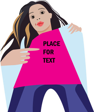 girl in magento t-shirt makes gesture, vector illustration of girl who points with finger to inscription, place for text